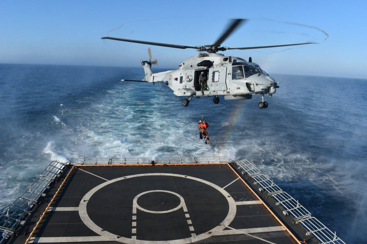 Cross-Deck Operations Between Indian Navy's INS Tabar And French Navy Frigate Aquitaine - 1