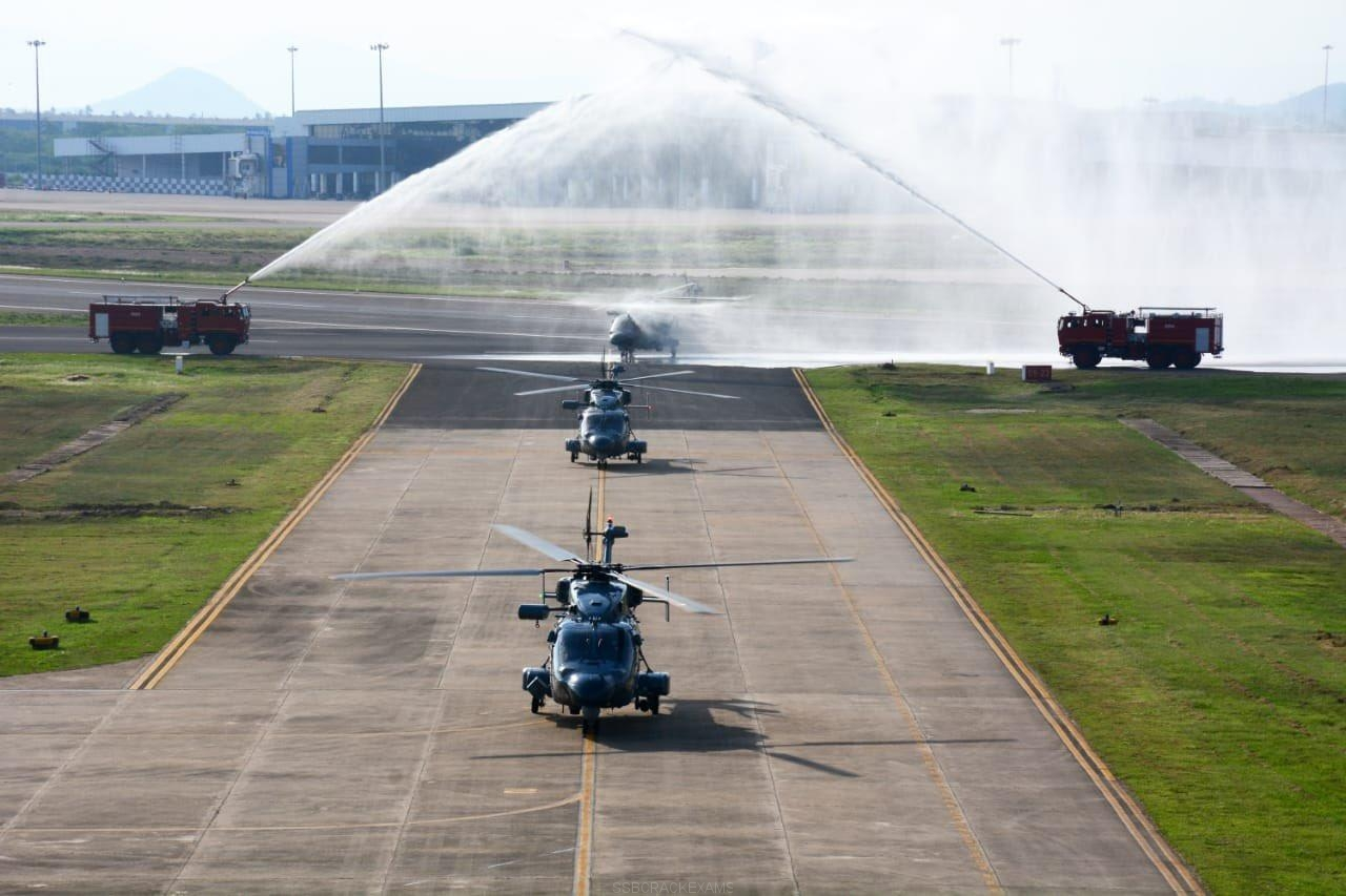 Three indigenously built Advanced Light Helicopters (ALH) MK III helicopters flying into Naval Air Station, INS Dega  - 1