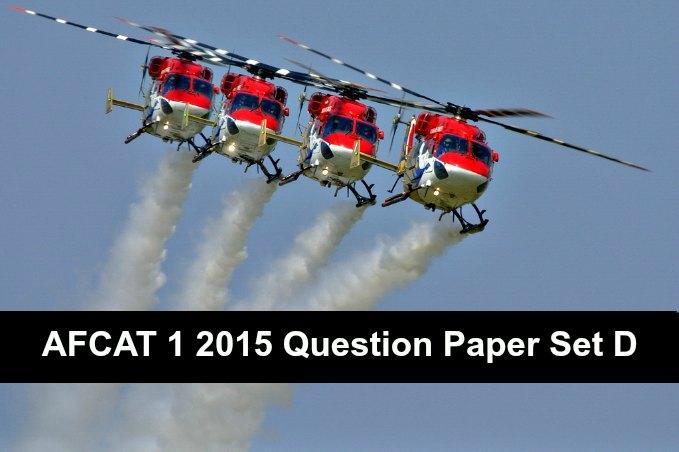 AFCAT 1 2015 Question Paper Set D