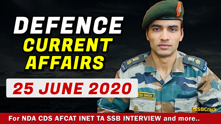 25 June 2020 Defence Current Affairs