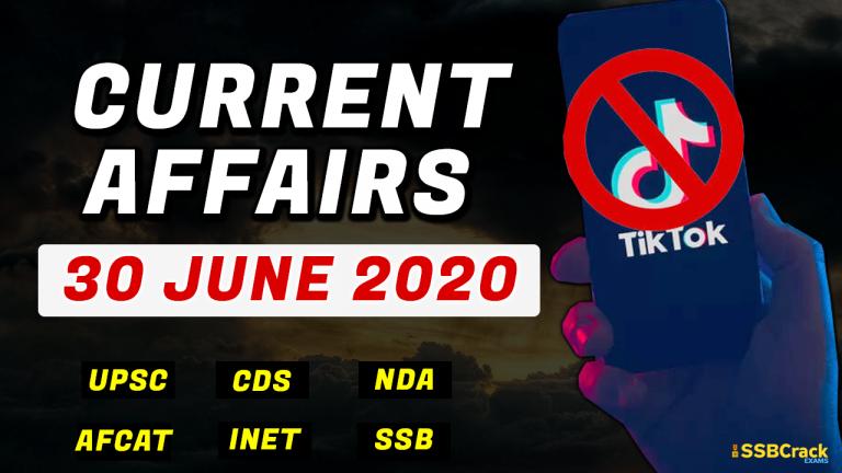 30 June 2020 Current Affairs