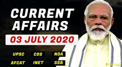 3 July 2020 Current Affairs