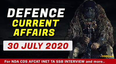 30 July 2020 Defence Current Affairs