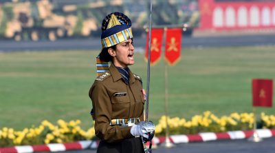 Captain Tania Shergill, India's first woman parade adjutant leads an all-men contingent during the Army Day 2020 parade