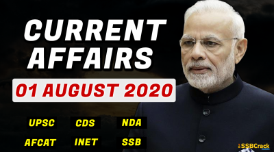1 August 2020 Current Affairs