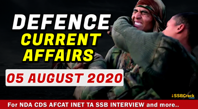 5 August 2020 Defence Current Affairs