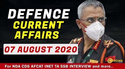 7 August 2020 Defence Current Affairs
